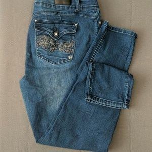 "Thorn Rhinestone Embellished Jeans Size 16 X29"""